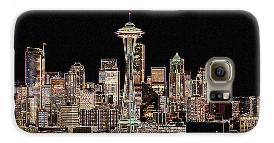 Colorful Galaxy S6 Case featuring the photograph Seattle A Glow by Larry Keahey