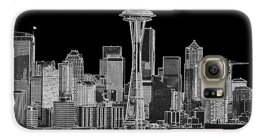 Black And White Galaxy S6 Case featuring the photograph Seattle Black And White by Larry Keahey