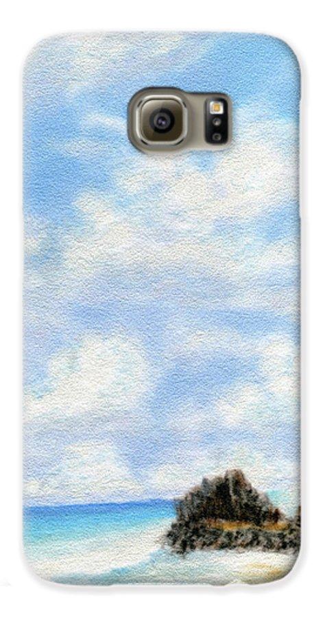 Coastal Decor Galaxy S6 Case featuring the painting Secret Beach Sky by Kenneth Grzesik