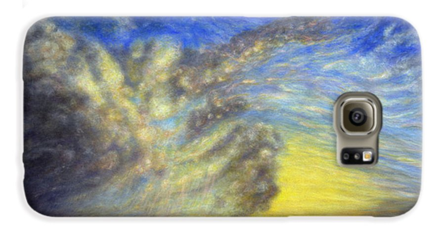 Coastal Decor Galaxy S6 Case featuring the painting Secret Beach Sunset by Kenneth Grzesik