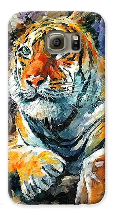 Painting Galaxy S6 Case featuring the painting Seibirian Tiger by Leonid Afremov