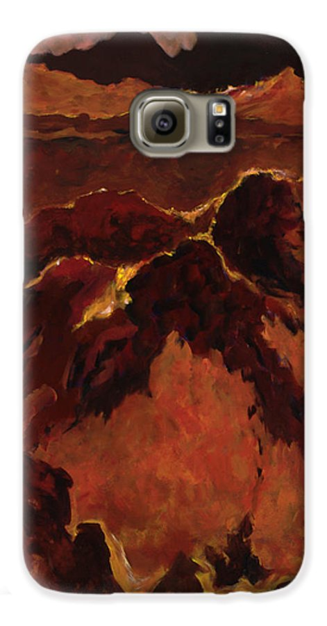 Abstract Galaxy S6 Case featuring the painting Seismic Shift by Tara Moorman