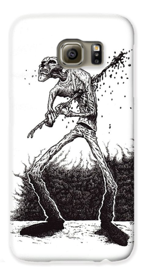 Dark Galaxy S6 Case featuring the drawing Self Inflicted by Tobey Anderson