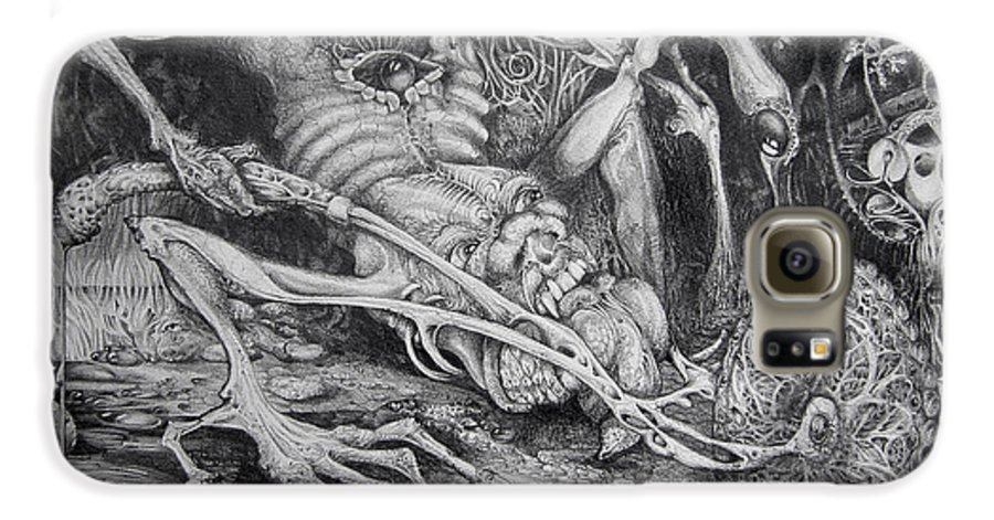 Surrealism Galaxy S6 Case featuring the drawing Selfpropelled Beastie Seeder by Otto Rapp