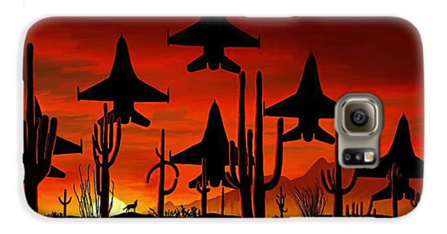 Fine Art Galaxy S6 Case featuring the painting Sentinels by David Wagner