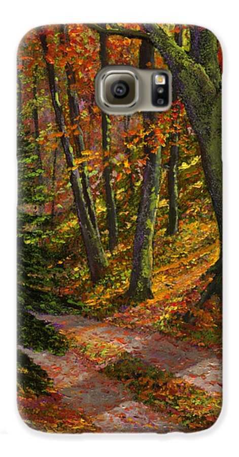 Road In The Woods Galaxy S6 Case featuring the painting September Road by Frank Wilson