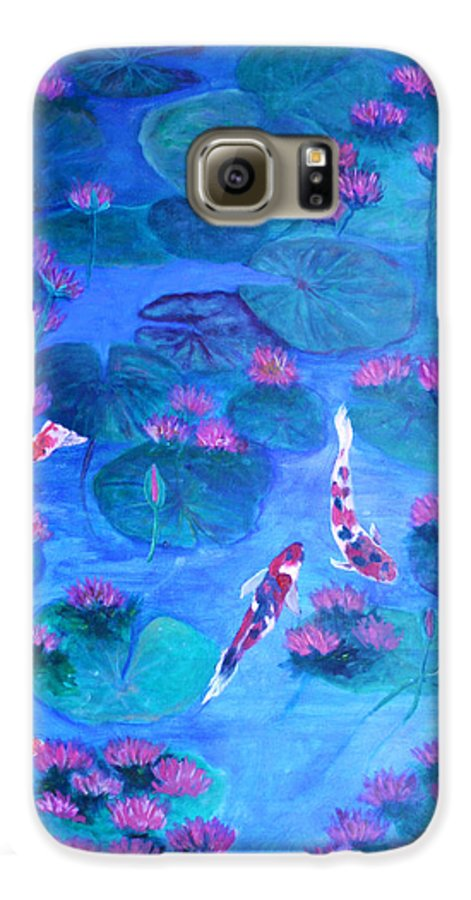 Lily Pads Galaxy S6 Case featuring the painting Serene Pond by Ben Kiger