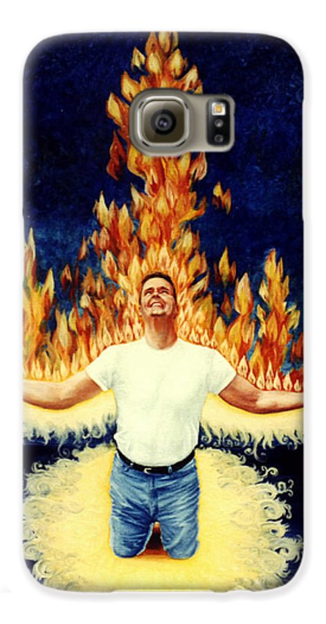 Holy Spirit Fire Galaxy S6 Case featuring the painting Set Aflame by Teresa Carter
