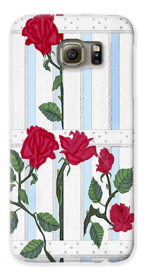 Roses Galaxy S6 Case featuring the painting Seven Roses For Mary by Anne Norskog