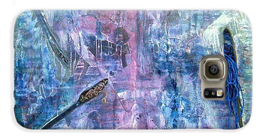 Abstract Galaxy S6 Case featuring the painting Seven Zippers by Nancy Mueller