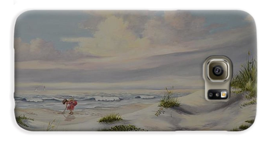 Landscape Galaxy S6 Case featuring the painting Shadows In The Sand Dunes by Wanda Dansereau