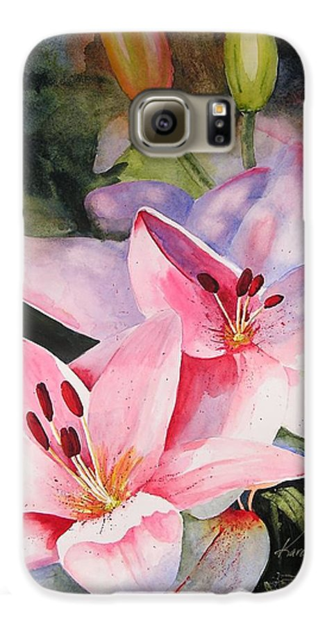 Lilies Galaxy S6 Case featuring the painting Shady Ladies by Karen Stark