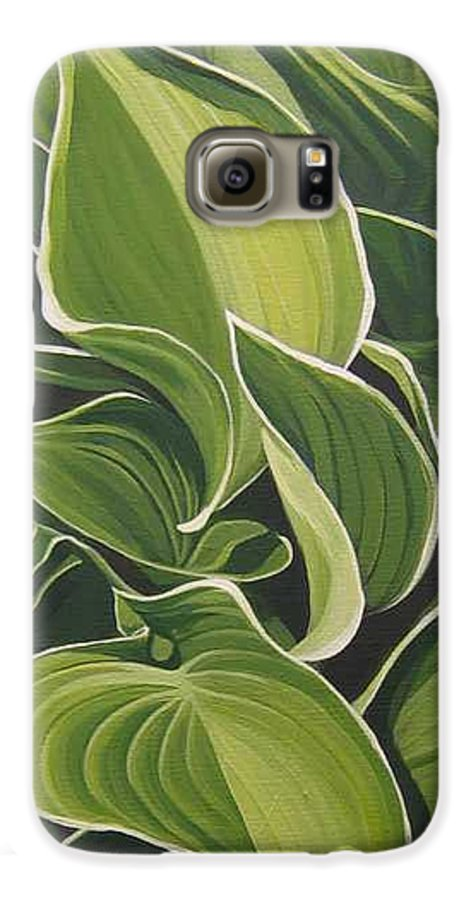 Closeup Of Hosta Plant Galaxy S6 Case featuring the painting Shapes That Go Together by Hunter Jay
