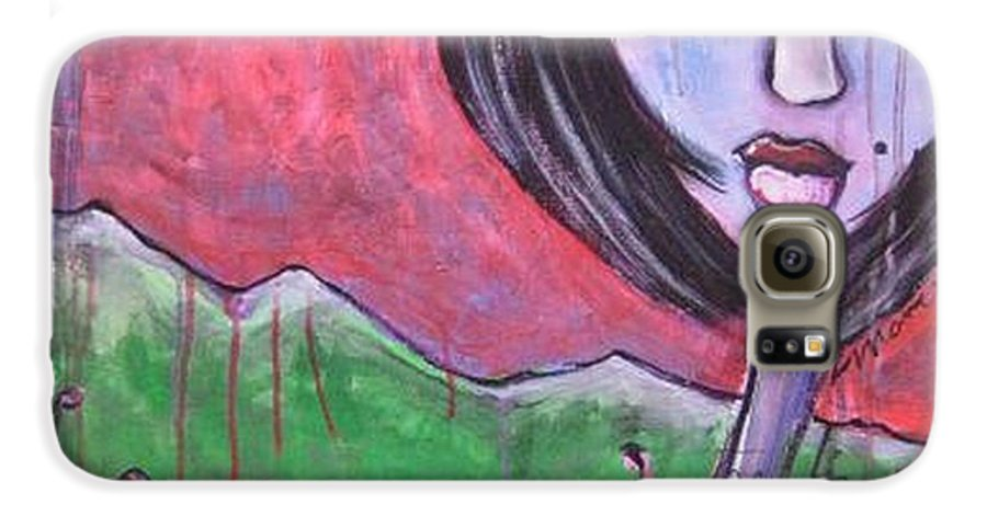 Poppies Galaxy S6 Case featuring the painting She Loved The Poppies by Laurie Maves ART