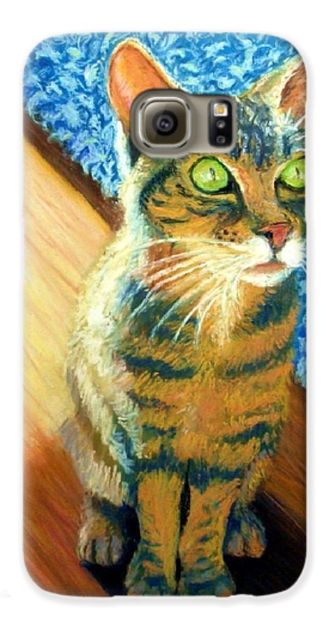 Cat Galaxy S6 Case featuring the painting She Wants To Be Famous by Minaz Jantz