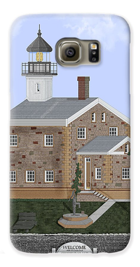 Lighthouse Galaxy S6 Case featuring the painting Sheffield Island Lighthouse Connecticut by Anne Norskog