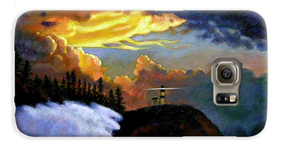 Ocean Galaxy S6 Case featuring the painting Shelter From The Storm by John Lautermilch