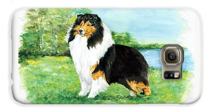 Shetland Sheepdog Galaxy S6 Case featuring the painting Sheltie Wait by Kathleen Sepulveda