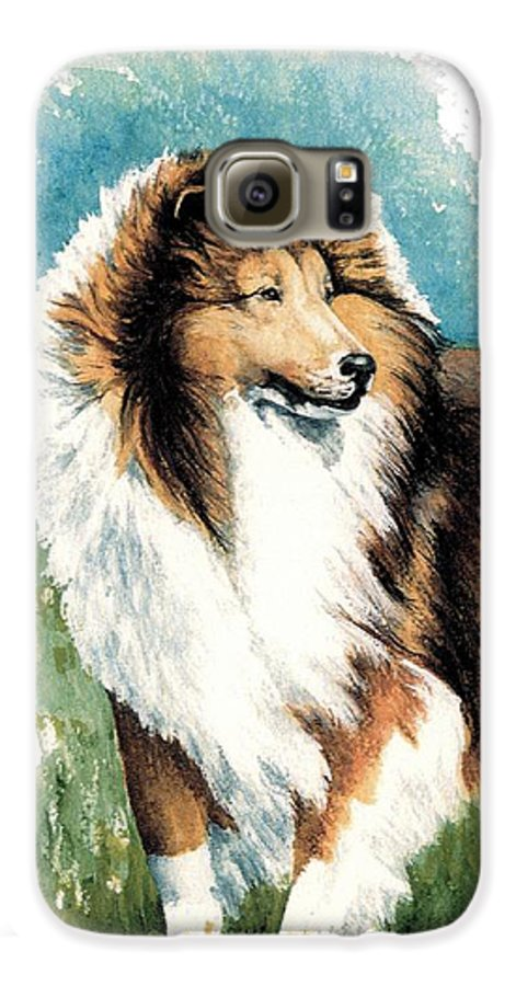 Shetland Sheepdog Galaxy S6 Case featuring the painting Sheltie Watch by Kathleen Sepulveda