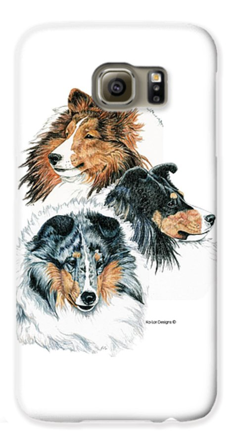 Shetland Sheepdog Galaxy S6 Case featuring the drawing Shetland Sheepdogs by Kathleen Sepulveda
