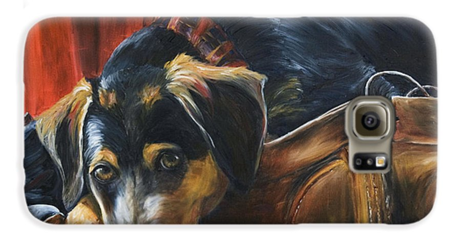 Dog Galaxy S6 Case featuring the painting Shoe Dog by Nik Helbig