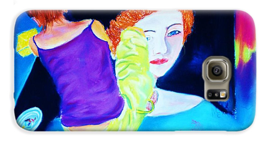 Painting Within A Painting Galaxy S6 Case featuring the print Sidewalk Artist II by Melinda Etzold