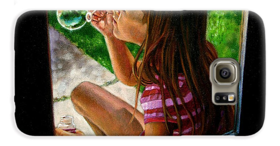 Girl Galaxy S6 Case featuring the painting Sierra Blowing Bubbles by John Lautermilch