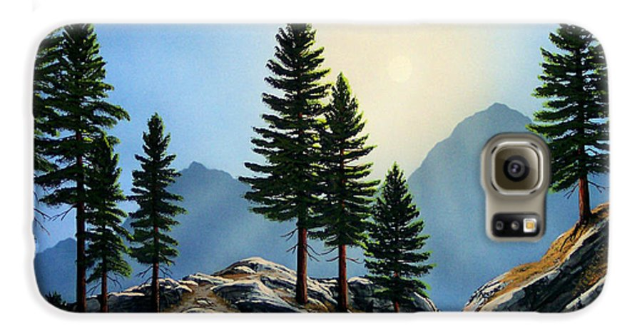 Landscape Galaxy S6 Case featuring the painting Sierra Sentinals by Frank Wilson