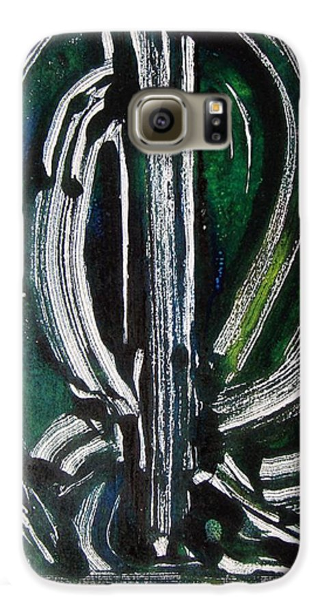 Abstract Galaxy S6 Case featuring the painting Signe by Muriel Dolemieux