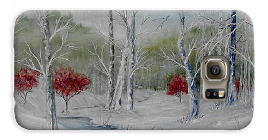 Snow; Winter; Birch Trees Galaxy S6 Case featuring the painting Silence by Ben Kiger