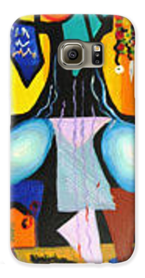 Abstract Galaxy S6 Case featuring the painting Simple Tree by Olga Alexeeva
