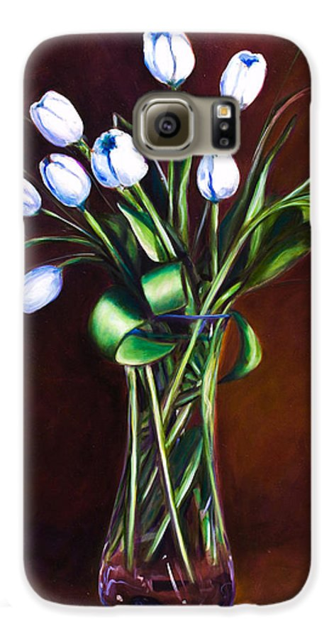 Shannon Grissom Galaxy S6 Case featuring the painting Simply Tulips by Shannon Grissom