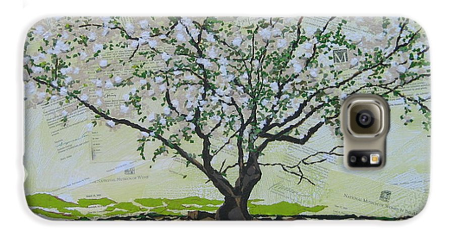Apple Tree Galaxy S6 Case featuring the painting Sincerely-the Curator by Leah Tomaino