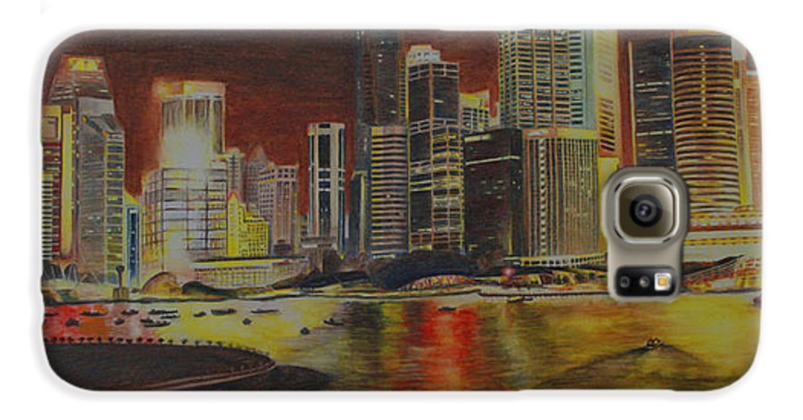 Cityscape Galaxy S6 Case featuring the painting Singapore Nights by Nik Helbig