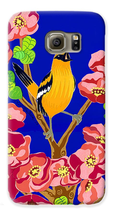 Nature Galaxy S6 Case featuring the drawing Singing Oriole by Lucyna A M Green