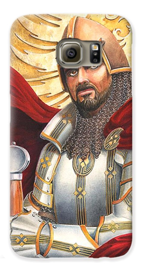 Swords Galaxy S6 Case featuring the drawing Sir Gawain by Melissa A Benson