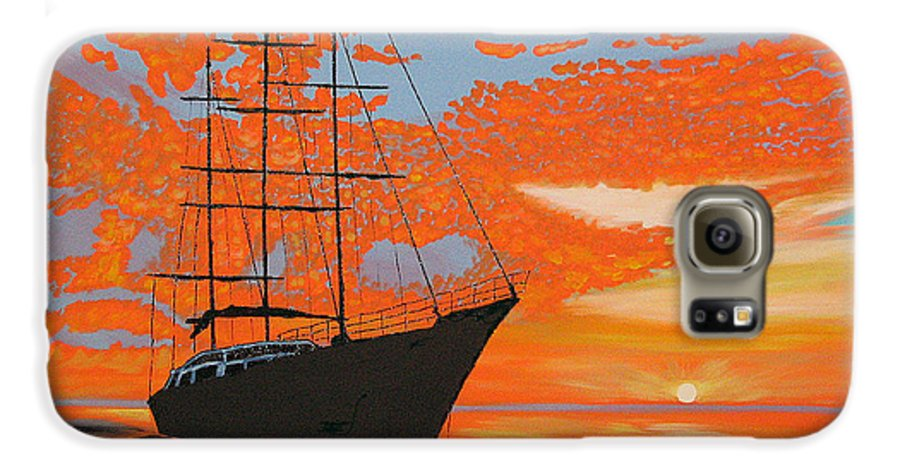 Seascape Galaxy S6 Case featuring the painting Sittin' On The Bay by Marco Morales