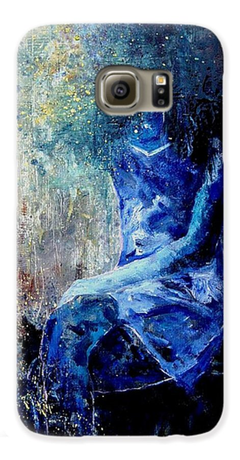 Woman Girl Fashion Galaxy S6 Case featuring the painting Sitting Young Girl by Pol Ledent