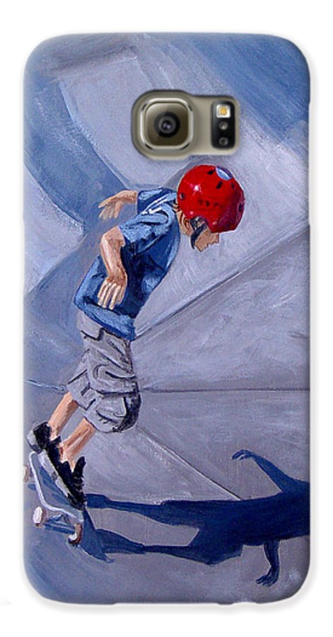 Boy Galaxy S6 Case featuring the painting Skateboarding by Quwatha Valentine