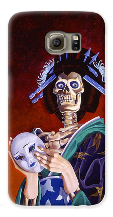 Skeleton Galaxy S6 Case featuring the painting Skeletal Geisha With Mask by Melissa A Benson