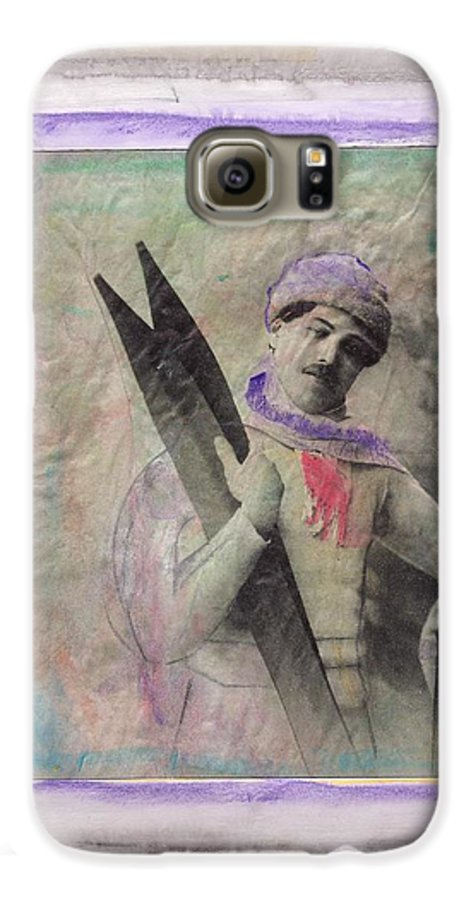 Ski Galaxy S6 Case featuring the mixed media Skiboarder Around 1930 by Michael Puya