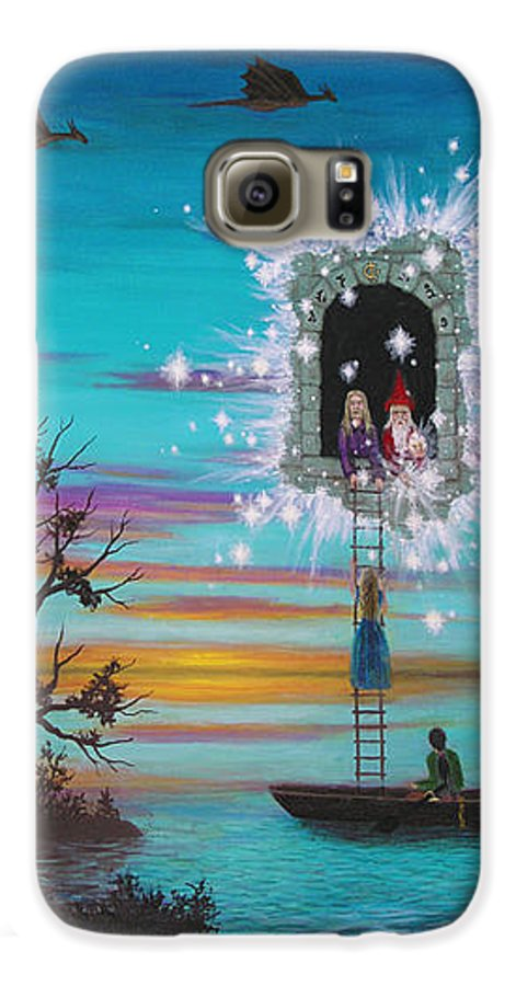 Fantasy Galaxy S6 Case featuring the painting Sky Window by Roz Eve