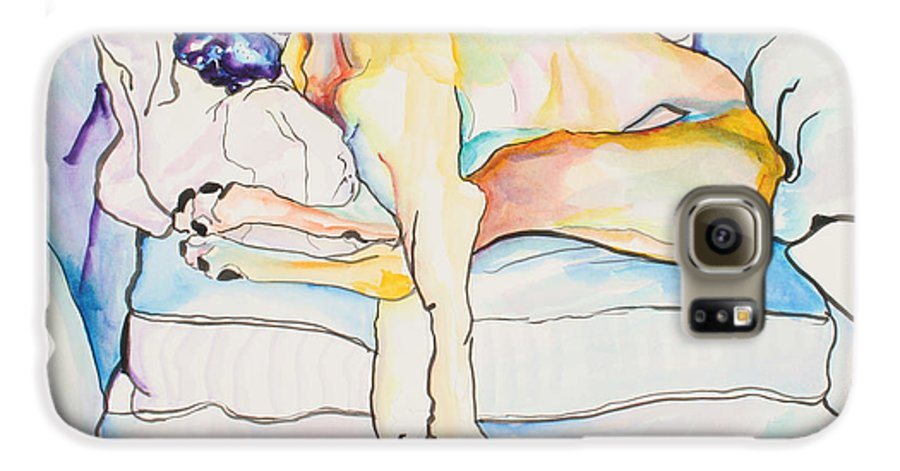 Great Dane Galaxy S6 Case featuring the painting Sleeping Beauty by Pat Saunders-White