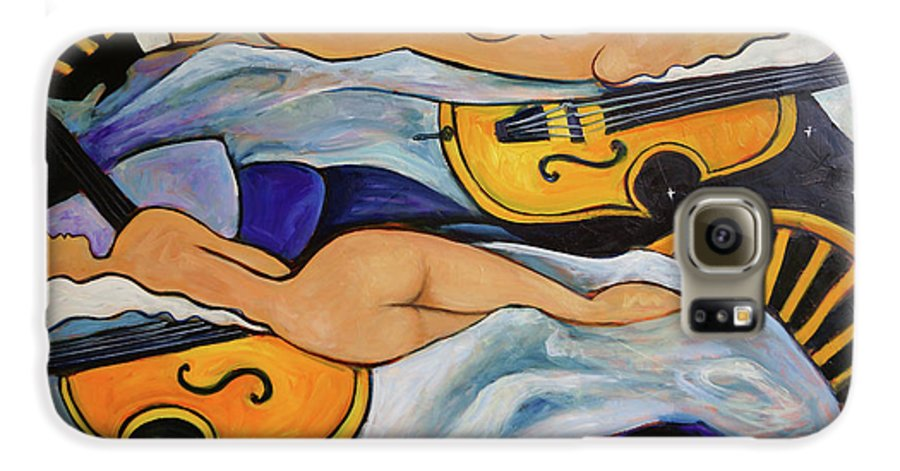 Musicians Galaxy S6 Case featuring the painting Sleeping Cellists by Valerie Vescovi