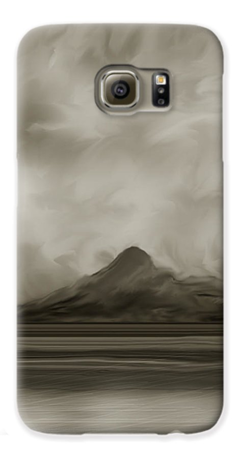 Wyoming Galaxy S6 Case featuring the painting Sleeping Giant And Beck Lake by Anne Norskog