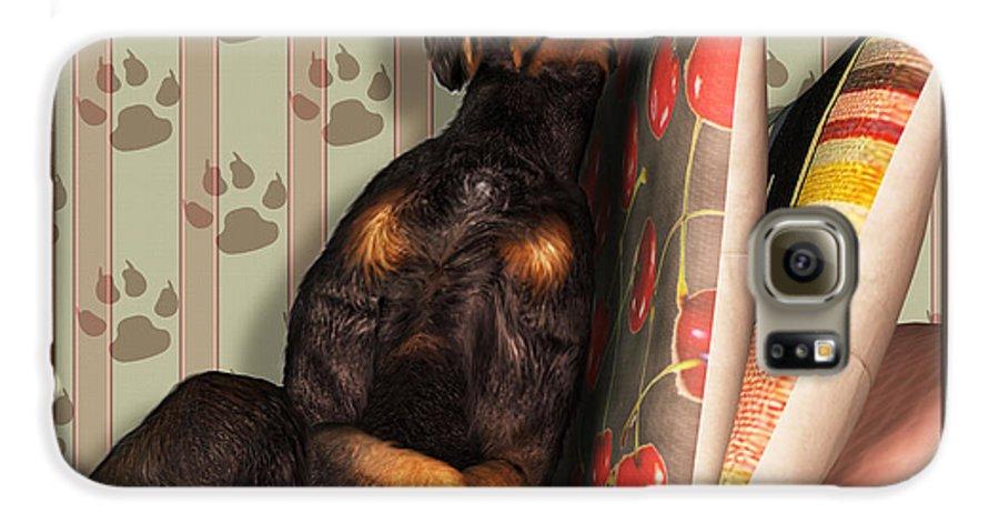 Dog Galaxy S6 Case featuring the digital art Sleeping I by Nik Helbig