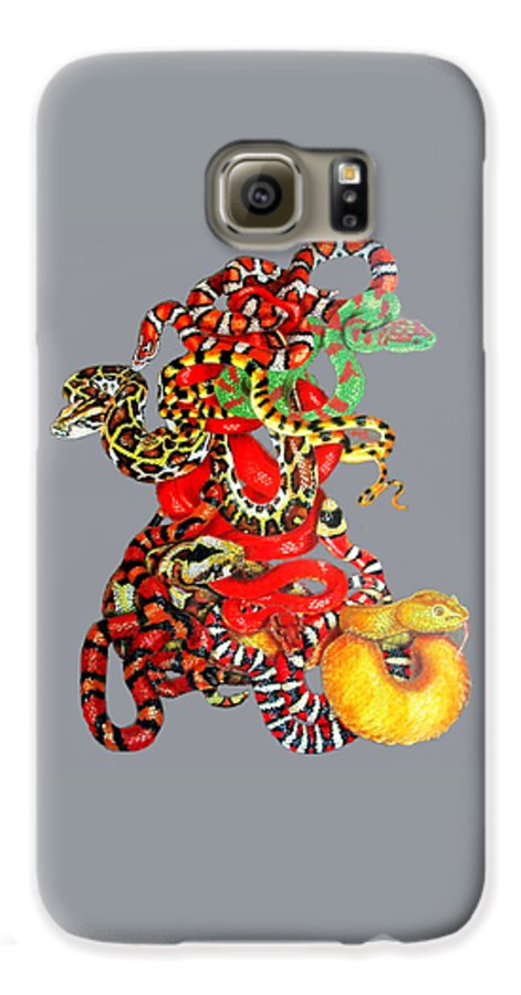 Reptile Galaxy S6 Case featuring the drawing Slither by Barbara Keith
