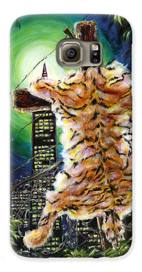 Tiger Galaxy S6 Case featuring the painting Slough... What I Have Left Behind The Fence To Survive In This Strange City by Hiroko Sakai
