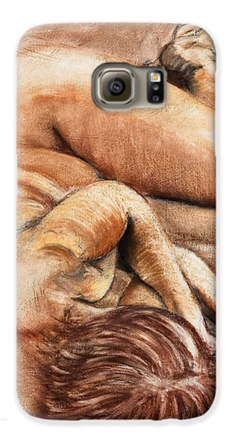 Nude Galaxy S6 Case featuring the drawing Slumber Pose by Kerryn Madsen-Pietsch
