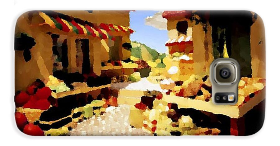 Market.town.street.road.houses.shadow.things For Sale.heat.rest.silence. Galaxy S6 Case featuring the digital art small urban market on Capri island by Dr Loifer Vladimir